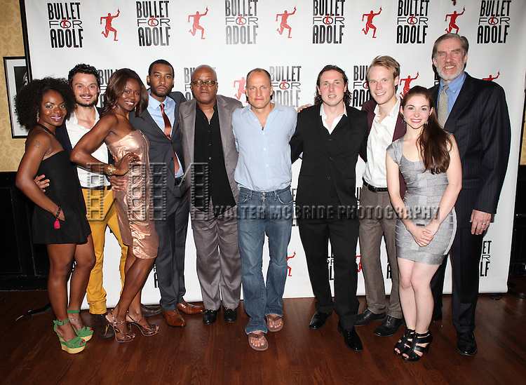 Marsha Stephanie Blake, Lee Osorio, Shamika Cotton, Tyler Jacob Rollinson, Frankie Hyman, Woody Harrelson, Brandon Coffey, David Coomber, Shannon Garland and Nick Wyman attending the Opening Night Performance After Party for 'Bullet For Adolf' at Hurley's Saloon in New York City on 8/8/2012.