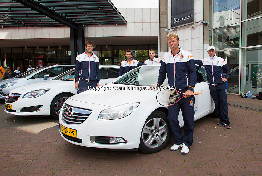 September 11, 2014, Netherlands, Amsterdam, Ziggo Dome, Davis Cup Netherlands-Croatia, Draw, Dutch team posing with official cars<br /> Photo: Tennisimages/Henk Koster