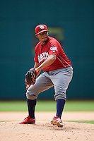 Lehigh Valley IronPigs relief pitcher Edubray Ramos (47) during a game against the Columbus Clippers on May 12, 2016 at Huntington Park in Columbus, Ohio.  Lehigh Valley defeated Columbus 2-1.  (Mike Janes/Four Seam Images)
