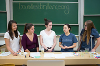 "Occidental College students with Boundless Brilliance, a nonprofit organization that encourages young girls to pursue careers in STEM (science, technology, engineering, and mathematics) by showing them it can be done, give a Facebook Live presentation, Dec. 6, 2017 in Fowler Hall.<br /> In 30-minute presentations to kindergarten to sixth-grade students, Boundless Brilliance's teams of college students, all women currently attending Occidental, go into classrooms to create excitement about science. Through simple experiments (such as building a bridge between two chairs using only newspapers and tape) and a message couched in confidence, respect, and teamwork, their message to everyone—and young girls in particular—is simple: You are brilliant and you can be a scientist if you want to be.<br /> In the fall semester, Boundless Brilliance gave more than 100 presentations at six different schools, reaching more than 2,500 students. This spring, the group hopes to double that number. In the near future, Boundless Brilliance aims to expand its program model to five Southern California colleges. ""By the end of 2020, we hope to be able to reach more than 40,000 students each year,"" says Shawley, the group's executive director.<br /> (Photo by Marc Campos, Occidental College Photographer)"