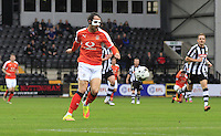 Danny Hylton of Luton Town tries his luck with a chipped effort at goal during the Sky Bet League 2 match between Notts County and Luton Town at Meadow Lane, Nottingham, England on 29 October 2016. Photo by Liam Smith / PRiME Media