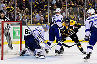May 2, 2018: Tampa Bay Lightning goaltender Andrei Vasilevskiy (88) traps the puck under his pad during game three of the second round of the National Hockey League's Eastern Conference Stanley Cup playoffs between the Tampa Bay Lightning and the Boston Bruins held at TD Garden, in Boston, Mass. Tampa Bay defeats Boston 4-1. Eric Canha/CSM