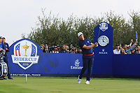 Alex Noren (Team Europe) on the 8th tee during the Friday Foursomes at the Ryder Cup, Le Golf National, Ile-de-France, France. 28/09/2018.<br /> Picture Thos Caffrey / Golffile.ie<br /> <br /> All photo usage must carry mandatory copyright credit (&copy; Golffile | Thos Caffrey)
