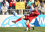 16 December 2007: Ohio State's Doug Verhoff (15) tries to clear the ball from Wake Forest's Cody Arnoux (behind). The Wake Forest University Demon Deacons defeated the Ohio State Buckeyes 2-1 at SAS Stadium in Cary, North Carolina in the NCAA Division I Mens College Cup championship game.