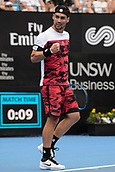 11th January 2018, Sydney Olympic Park Tennis Centre, Sydney, Australia; Sydney International Tennis,quarter final; Fabio Fognini (ITA) celebrates as he takes a lead in his match against Adrian Mannarino (ITA)