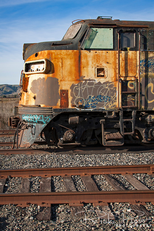 Former Bessemer and Lake Erie F7 718A sits on a Northwestern Pacific siding near Schellville, California.