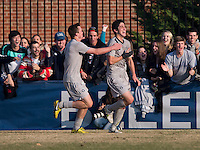 Andy Riemer (20) of Georgetown celebrates his goal with teammate Steve Neumann (18) during the game at North Kehoe Field in Washington, DC.  Georgetown defeated San Diego, 3-1.