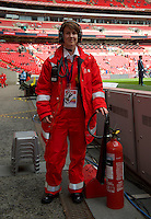 A fire attendant before the Johnstone's Paint Trophy FINAL match between Oxford United and Barnsley at Wembley Stadium, London, England on 3 April 2016. Photo by Alan  Stanford / PRiME Media Images.