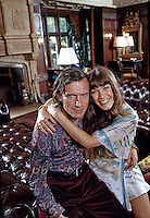Hugh Hefner with girlfriend Barbi Benton,  Playboy Mansion, Los Angeles, 1973. Photo by John G. Zimmerman.