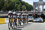 AG2R La Mondiale in action during Stage 2 of the 2019 Tour de France a Team Time Trial running 27.6km from Bruxelles Palais Royal to Brussel Atomium, Belgium. 7th July 2019.<br /> Picture: ASO/Pauline Ballet | Cyclefile<br /> All photos usage must carry mandatory copyright credit (© Cyclefile | ASO/Pauline Ballet)