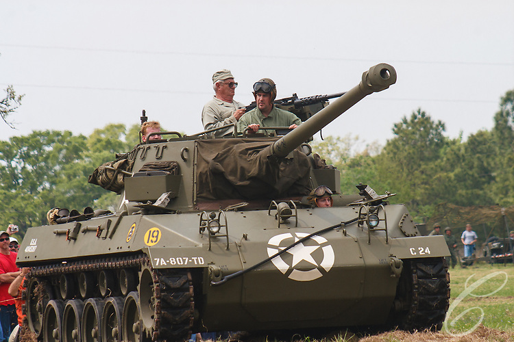"Reenactors showcase World War II tanks, half-tracks and support vehicles during the Museum of the America G.I.'s annual Open House on March 29, 2008 in College Station, Texas.This vehicle is a M18 ""Hellcat"" Tank Destroyer."