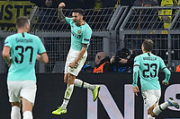 Matias Vecino 8, Inter Milan cheers after his goal to 0 2 nordphoto/Mauelshagen nph00321<br /> Dortmund 5-11-2019 BVB Stadion <br /> Football Uefa Champions League 2019/2020 Group F Borussia Dortmund - FC Internazionale <br /> Photo Imago/Insidefoto