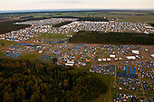 A helicopter-image over the camp-site. In the bottom of the image you see Spring-town. Photo: Kim Rask/Scouterna