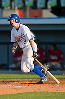 Alex McClure #2 of the Burlington Royals follows through on his swing against the Kernersville Bulldogs in an exhibition game at Burlington Athletic Stadium June20, 2010, in Burlington, North Carolina.  Photo by Brian Westerholt / Four Seam Images