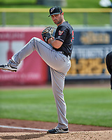 El Paso Chihuahuas starting pitcher Matt Magill (14) warms up in the bullpen before the game against the Salt Lake Bees in Pacific Coast League action at Smith's Ballpark on April 30, 2017 in Salt Lake City, Utah. El Paso defeated Salt Lake 3-0.This was Game 1 of a double-header.  (Stephen Smith/Four Seam Images)
