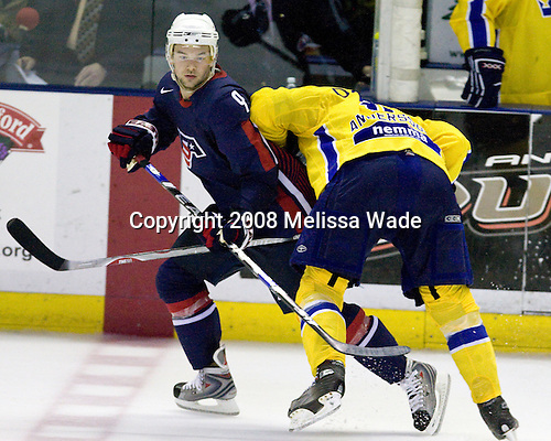 Patrick O'Sullivan (USA 9 - Los Angeles Kings/Mississauga IceDogs), Johan Andersson (Sweden 16 - Timra IK) - Team USA defeated Team Sweden 5-1 on Sunday, April 27, 2008, in an exhibition match at the Cumberland County Civic Center in Portland, Maine, prior to the 2008 World Championships..