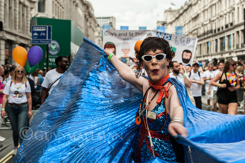 Gay Pride parade 2016. Held in central London 25-6-16