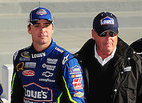 Feb 10, 2008; Daytona Beach, FL, USA; Nascar Sprint Cup Series driver Jimmie Johnson (left) with car owner Rick Hendrick after winning the pole position during qualifying for the Daytona 500 at Daytona International Speedway. Mandatory Credit: Mark J. Rebilas-US PRESSWIRE