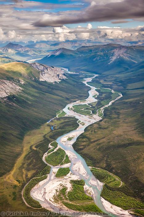 Aerial of the Brooks Range mountains, Arctic, Alaska.