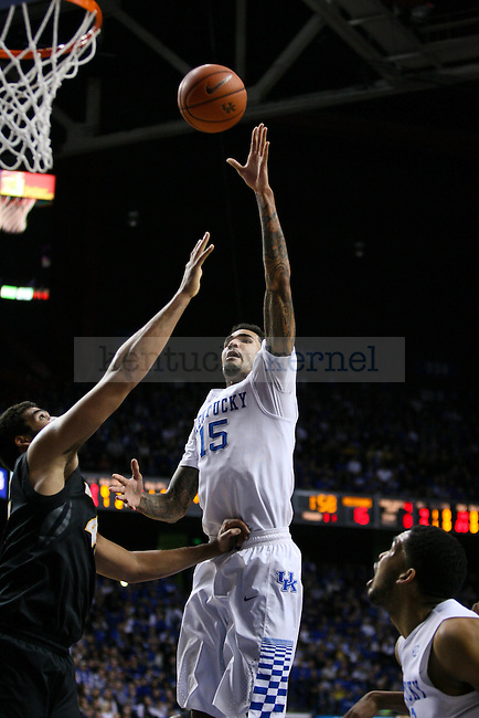 UK forward Willie Cauley-Stein (#15) puts up a floater during the first half of the University of Kentucky versus University of Missouri men's basketball game at Rupp Arena in Lexington, Ky., on Tuesday, January 13, 2015. Photo by Cameron Sadler | Staff