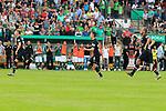 11.08.2019, Stadion Lohmühle, Luebeck, GER, DFB-Pokal, 1. Runde VFB Lübeck vs 1.FC St. Pauli<br /> <br /> DFB REGULATIONS PROHIBIT ANY USE OF PHOTOGRAPHS AS IMAGE SEQUENCES AND/OR QUASI-VIDEO.<br /> <br /> im Bild / picture shows<br /> Die Mannschaft des FC St. Pauli jubelt nach dem Pokalsieg gegen den VfB Luebeck mit 6:7.<br /> <br /> Foto © nordphoto / Freund