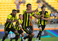 Steven Taylor celebrates the opening goal during the A-League football match between Wellington Phoenix and Brisbane Roar at Westpac Stadium in Wellington, New Zealand on Saturday, 22 December 2018. Photo: Dave Lintott / lintottphoto.co.nz