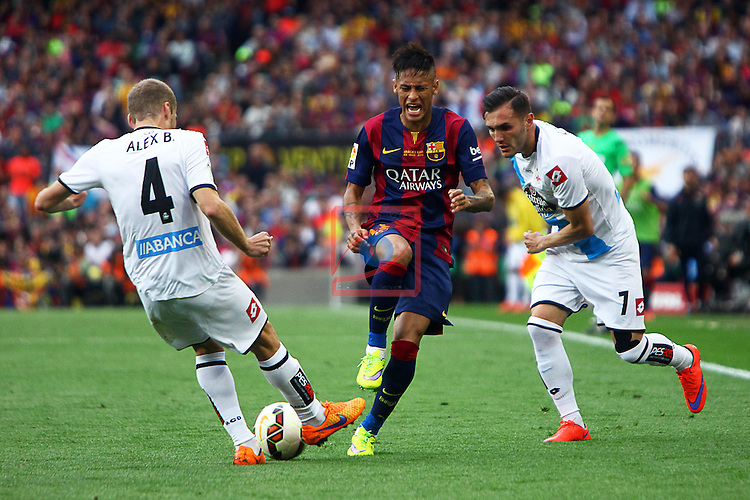 League BBVA 2014/2015. Game: 38.<br /> FC Barcelona vs Deportivo: 2-2.<br /> Alex, Neymar &amp; Lucas.