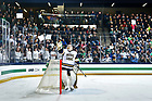 January 19, 2018; Goalie Cale Morris flings water into the air during a pause in the action at a hockey game. (Photo by Matt Cashore/University of Notre Dame)