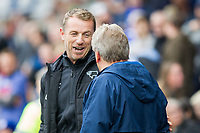 Derby County manager Gary Rowett speaks with Cardiff City manager Neil Warnock ahead of the Sky Bet Championship match between Cardiff City and Derby County at Cardiff City Stadium, Cardiff, Wales on 30 September 2017. Photo by Mark  Hawkins / PRiME Media Images.