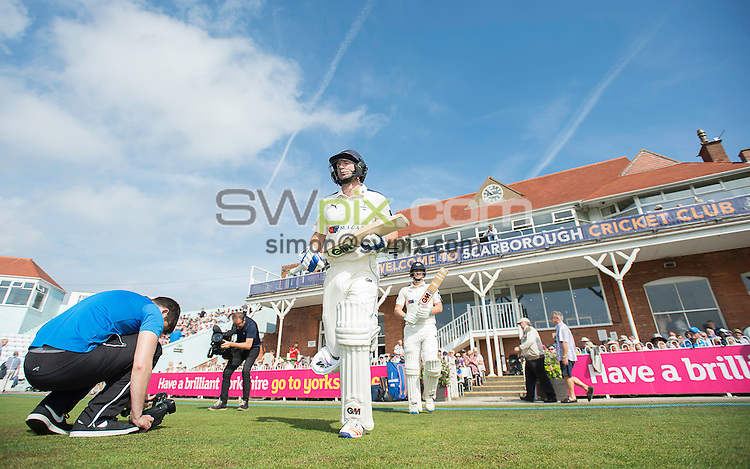 Picture by Allan McKenzie/SWpix.com - 23/08/2016 - Cricket - Specsavers County Championship - Yorkshire County Cricket Club v Nottinghamshire County Cricket Club - North Marine Road, Scarborough, England - Adam Lyth comes to the field to open the batting.