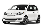 Stock pictures of low aggressive front three quarter view of a 2020 Skoda Citigo e iV Ambition 5 Door Hatchback