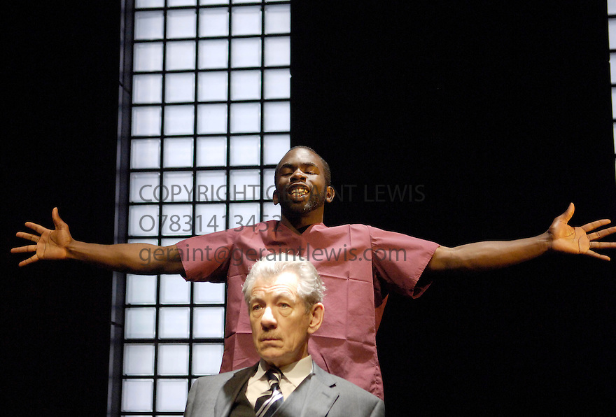 The Cut by Mark Ravenhill directed by Michael Grandage. With Ian McKellen,Jimmy Akingbola. Opens at the Donmar Theatre on 1/3/06 CREDIT Geraint Lewis