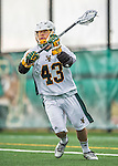 18 April 2015:  University of Vermont Catamount Attacker Dyson White, a Senior from Richmond, VA, in action against the University of Hartford Hawks at Virtue Field in Burlington, Vermont. The Cats defeated the Hawks 14-11 in the final home game of the 2015 season. Mandatory Credit: Ed Wolfstein Photo *** RAW (NEF) Image File Available ***