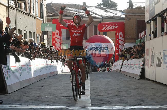 Bauke Mollema (NED) Trek-Segafredo wins the Satge 2 of Settimana Internazionale Coppi e Bartali 2018 running 130km from Riccione to Sogliano al Rubicone. 23rd March 2018.<br /> Picture: Roberto Bettini/BettiniPhoto | Cyclefile<br /> <br /> <br /> All photos usage must carry mandatory copyright credit (&copy; Cyclefile | Roberto Bettini/BettiniPhoto)