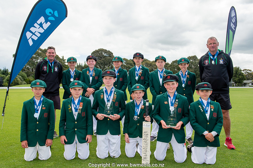 Hereworth School with the Spirit of Cricket Trophy. National Primary Cup boys' cricket tournament at Lincoln Domain in Christchurch, New Zealand on Wednesday, 20 November 2019. Photo: John Davidson / bwmedia.co.nz