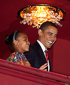 "Washington, DC - February 6, 2009 -- United States President Barack Obama and daughter Sasha arrive at the Kennedy Center Washington, D.C., U.S., on Friday, February 6, 2009. The first family was attending a performance of the ""Alvin Ailey American.Dance Theater At 50 -- A Golden Anniversary Celebration"".Credit: Joshua Roberts / Pool via CNP"