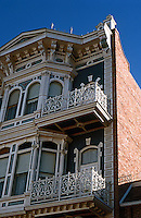 San Diego: Horton Grand Hotel. Detail: upper stories and cornice.