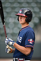 Infielder Griffin Benson (23) of the Rome Braves takes batting practice before a game against the Greenville Drive on Saturday, April 14, 2018, at Fluor Field at the West End in Greenville, South Carolina. Rome won, 4-0. (Tom Priddy/Four Seam Images)
