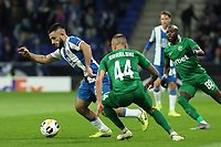 7th November 2019; RCDE Stadium, Barcelona, Catalonia, Spain; UEFA Europa League Football, Real Club Deportiu Espanyol de Barcelona versus PFC Ludogorets Razgrad;  Vargas of Espanyol goes past Jacek Goralski of Ludogorets - Editorial Use