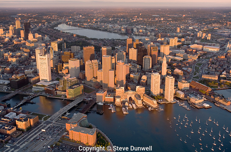 aerial sunrise view from harbor, Boston, MA (MA-022)