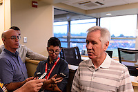 \USWNT head coach Tom Sermanni is interviewed prior to the match. The Portland Thorns defeated the Western New York Flash 2-0 during the National Women's Soccer League (NWSL) finals at Sahlen's Stadium in Rochester, NY, on August 31, 2013.