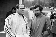 Watkins Glen, New York, USA. 01 Oct 1967. French Formula One racecar drivers Jean-Pierre Beltoise and Guy Ligier attend the 1967 Watkins Glen Formula One Grand Prix.