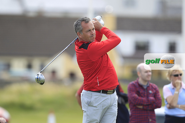 Pat Murray (Limerick) on the 1st tee during Matchplay Round 4 of the South of Ireland Amateur Open Championship at LaHinch Golf Club on Saturday 25th July 2015.<br /> Picture:  Golffile | TJ Caffrey