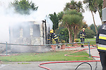 Two units of the Drogheda Fire service attended the scene of a fire at the cement pitch and putt grounds on the cement road. A Pre fab building was totally destroyed by fire.. Photo: Newsfile/Fran Caffrey.