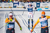 1st January 2020, Toblach, South Tyrol , Italy;  Johan Hoggstrom of Sweden finishes in the mens 15 km classic technique pursuit during Tour de Ski on January 1, 2020 in Toblach.