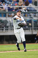 Everett AquaSox third baseman Patrick Kivlehan #47 makes a throw to first base during a game against the Spokane Indians at Everett Memorial Stadium on June 20, 2012 in Everett, WA.  Everett defeated Spokane 9-8 in 13 innings.  (Ronnie Allen/Four Seam Images)