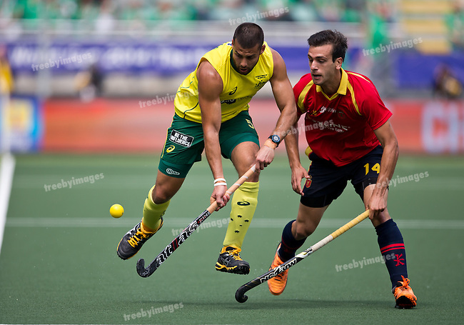 Hockey World Cup 2014<br /> The Hague, Netherlands <br /> Day 3 Mens Australia v Spain<br /> Chris Ciriello<br /> Photo: Grant Treeby<br /> www.treebyimages.com.au