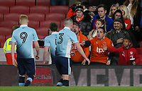 Blackpool U18's players thank the travelling fans at the end of the match<br /> <br /> Photographer Andrew Kearns/CameraSport<br /> <br /> Emirates FA Youth Cup Semi- Final Second Leg - Arsenal U18 v Blackpool U18 - Monday 16th April 2018 - Emirates Stadium - London<br />  <br /> World Copyright &copy; 2018 CameraSport. All rights reserved. 43 Linden Ave. Countesthorpe. Leicester. England. LE8 5PG - Tel: +44 (0) 116 277 4147 - admin@camerasport.com - www.camerasport.com
