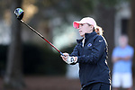 WILMINGTON, NC - OCTOBER 27: Penn State's Megan McLean on the 10th tee. The first round of the Landfall Tradition Women's Golf Tournament was held on October 27, 2017 at the Pete Dye Course at the Country Club of Landfall in Wilmington, NC.