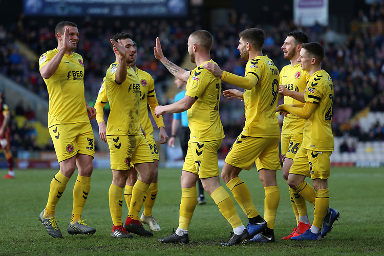 Fleetwood Town's celebrate after Paddy Madden puts them 1-0 ahead<br /> <br /> Photographer David Shipman/CameraSport<br /> <br /> The EFL Sky Bet League One - Bradford City v Fleetwood Town - Saturday 9th February 2019 - Valley Parade - Bradford<br /> <br /> World Copyright &copy; 2019 CameraSport. All rights reserved. 43 Linden Ave. Countesthorpe. Leicester. England. LE8 5PG - Tel: +44 (0) 116 277 4147 - admin@camerasport.com - www.camerasport.com